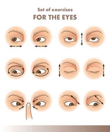 Conjunto de ejercicios para los ojos, ilustración de agudeza visual.