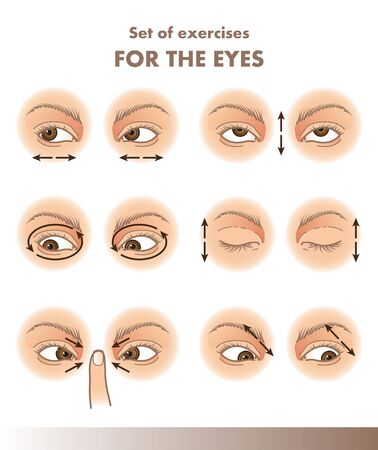 Set of exercises for the eyes, visual acuity illustration Ilustracja