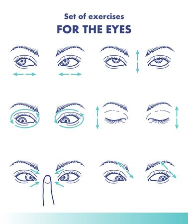 Set of exercises for the eyes, visual acuity line illustration Ilustracja