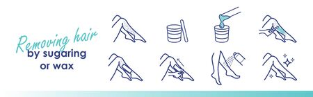Removing hair by sugaring or wax. Vector trendy line illustration Illustration