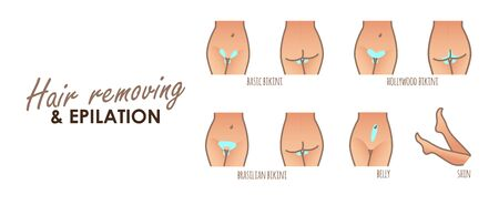 Area hair removal icon set, marked epilation zones