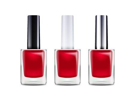 Glossy nail polish bottle. Vector illustration. Mockup template