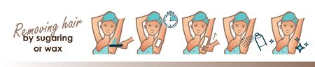 Removing hair by sugaring or wax. Vector trendy illustration Illustration