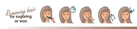 Removing face hair by sugaring or wax. Vector trendy illustration Illustration