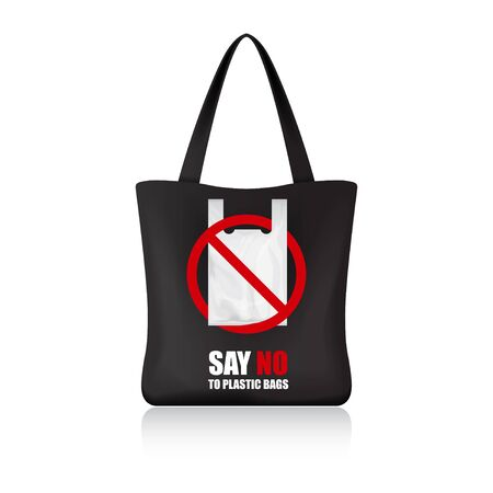 Black eco shopping bag for your brand. Say no to plastic bags Illustration