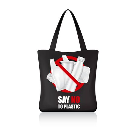 Black eco shopping bag for your brand. Vector package template