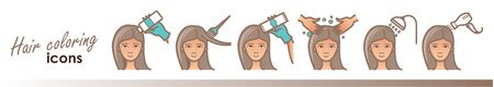Hair care icons. Coloring, treatment, styling
