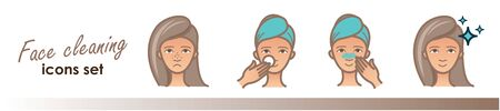 Beauty illustrations, acne treatment, face cleaning, mask