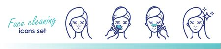 Beauty line icons, acne treatment, face cleaning, mask