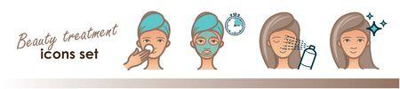 Beauty treatment illustration. Face mask, spray