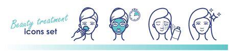 Beauty treatment line icons. Face mask, spray