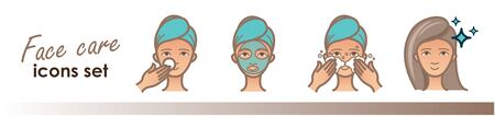 Beauty treatment, face care illustrations. Face mask