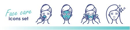 Beauty treatment, face care line icons. Face mask