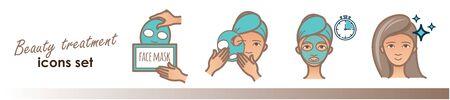 Beauty treatment illustration, facial mask applying Illustration