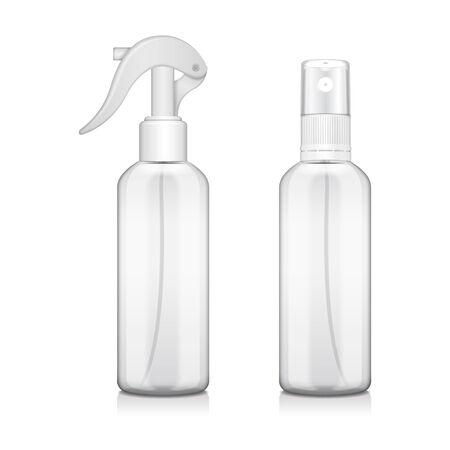 Bottle set with atomizer. Mock up Bottle medical vial, flask, flacon