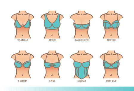 Types of bras. Kinds of bras. Womens underwear illustration set Ilustracje wektorowe