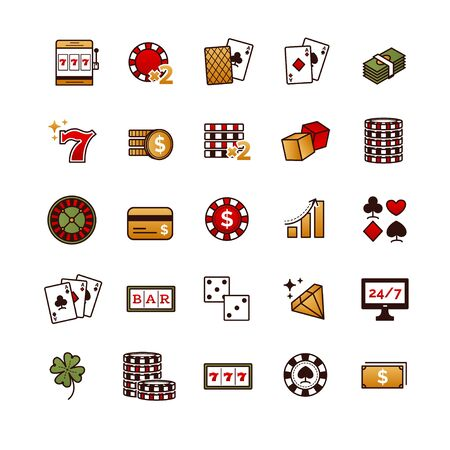 Casino, gambling, poker game vector icons set for your design