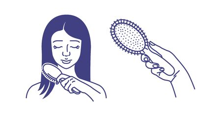 The girl takes care of her hair. Comb your hair. Comb in hand