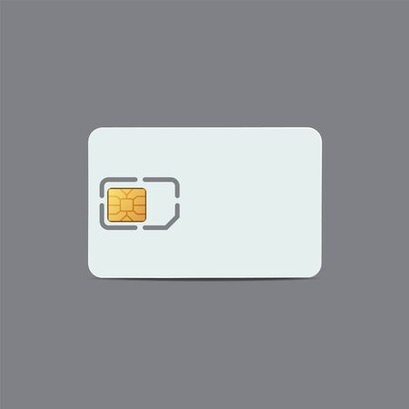 Sim card. Realistic plastic card of cellular connection mock up for your design