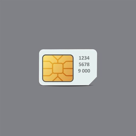 Chip of sim card. Plastic card of cellular connection mock up. For your design