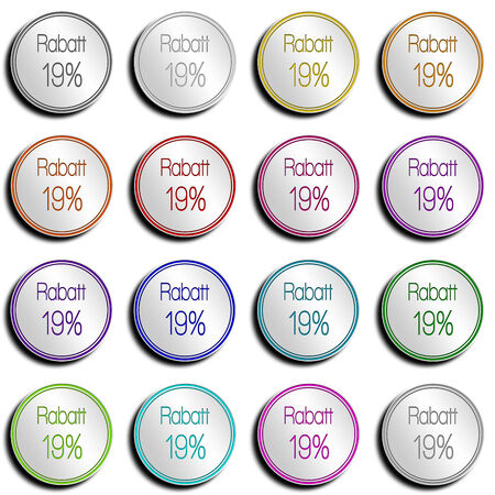 shop opening hours: Shiny metal button with different colors. Stock Photo