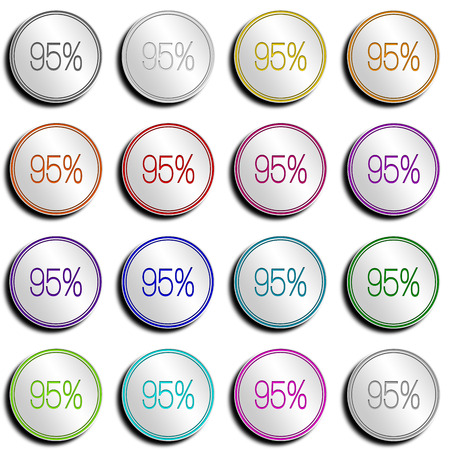 Shiny metal button with different colors. photo