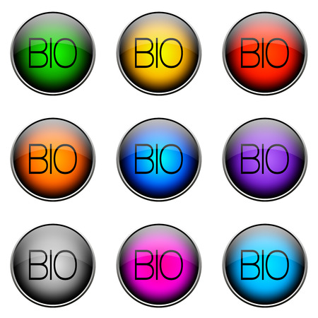 topics: Colorful buttons with different topics. Button Color BIO Stock Photo