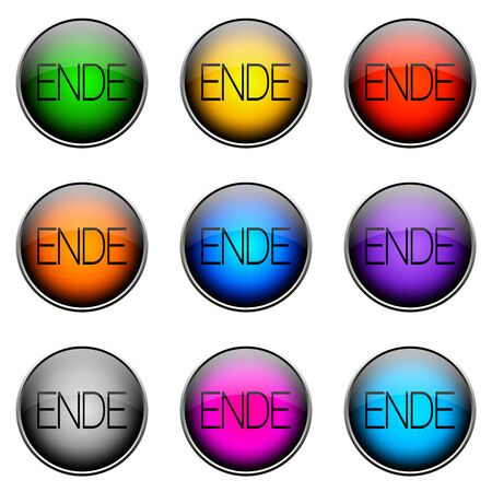 log off: Colorful buttons with different topics. Color Button END