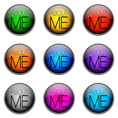 topics: Colorful buttons with different topics. Button Color ABOUTME Stock Photo