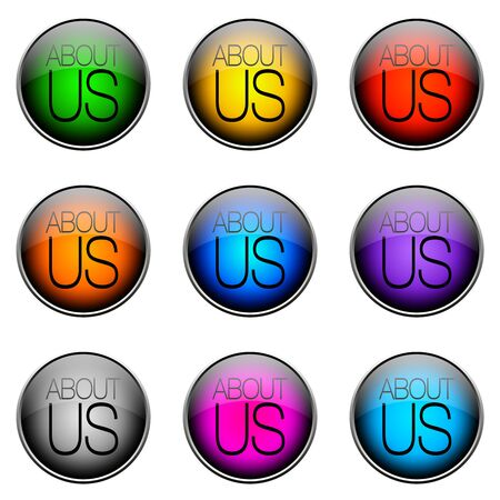 topics: Colorful buttons with different topics. Button Color ABOUTUS