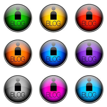 topics: Colorful buttons with different topics. Button Color BLOG