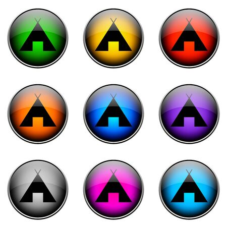 topics: Colorful buttons with different topics. Button Color CAMPING