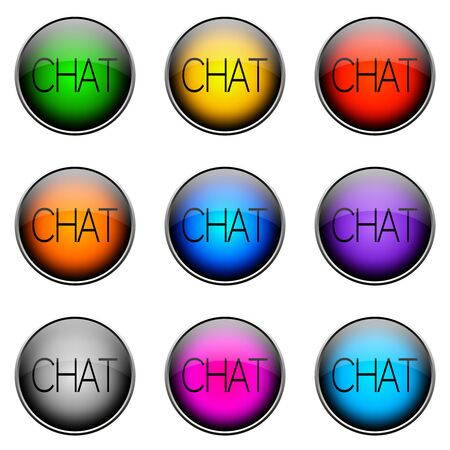 topics: Colorful buttons with different topics. Button Color CHAT