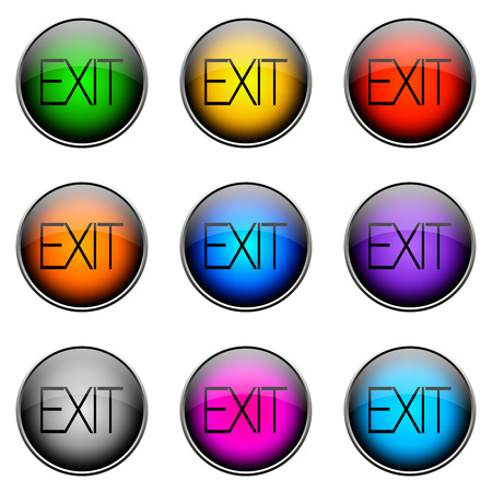 complete: Colorful buttons with different topics. Button Color EXIT Stock Photo