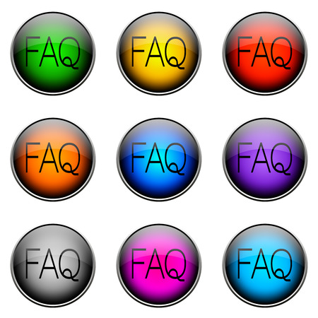 warranty questions: Colorful buttons with different topics. Button Color FAQ