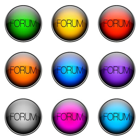 pronounce: Colorful buttons with different topics. Button Color FORUM