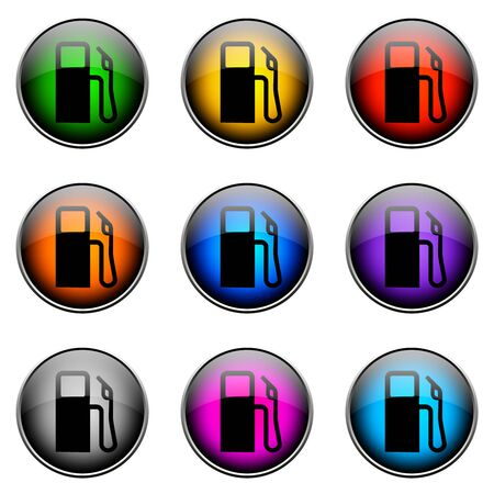 pollutants: Colorful buttons with different topics. Button Color GAS