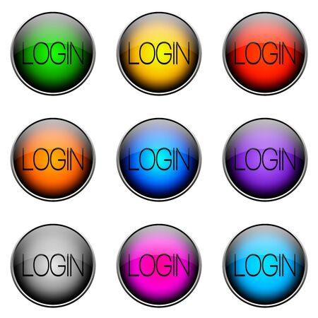 Colorful buttons with different topics. Button Color LOGIN