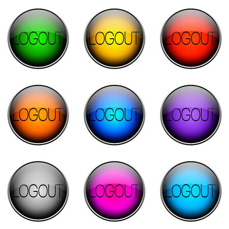complete: Colorful buttons with different topics. Button Color LOGOUT