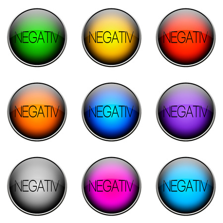 stock price losses: Colorful buttons with different topics. Button Color NEGATIVE