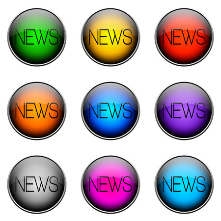 topics: Colorful buttons with different topics. Button Color NEWS
