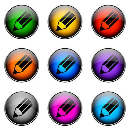 compensate: Colorful buttons with different topics. Button Color PENCIL Stock Photo
