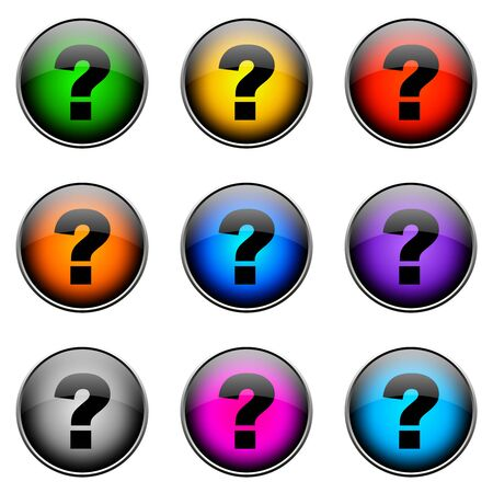 questionmark: Colorful buttons with different topics. Button Color QUESTIONMARK Stock Photo