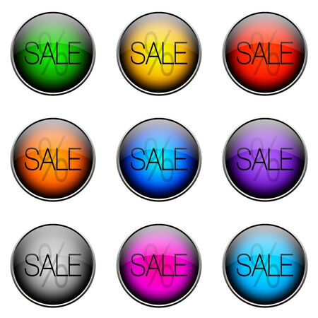 Colorful buttons with different topics. ButtonColor SALE Stock Photo