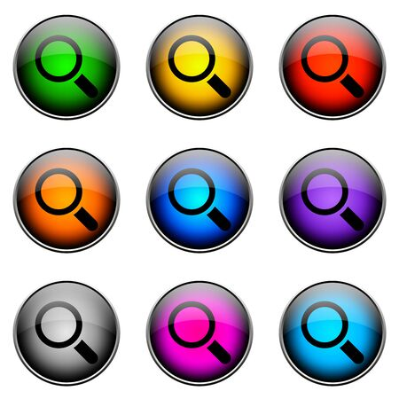 Colorful buttons with different topics. ButtonColor SEARCH Stock Photo