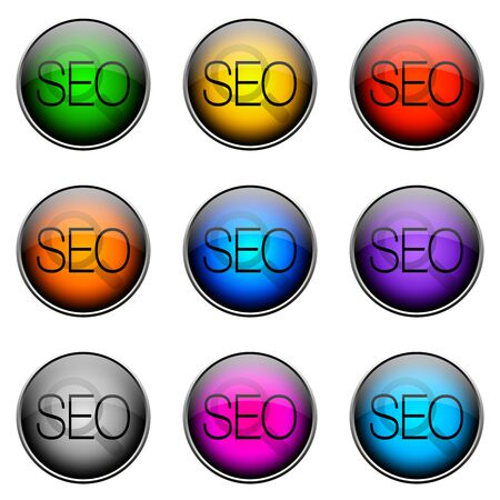 backlink: Colorful buttons with different topics. ButtonColor SEO Stock Photo
