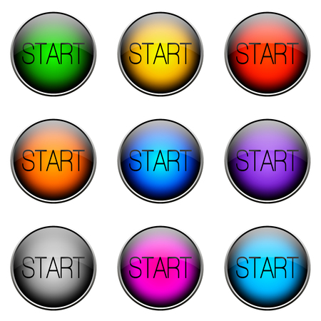 outset: Colorful buttons with different topics. START Button Color