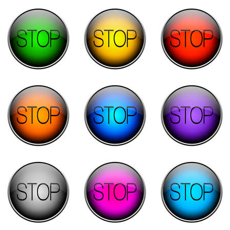 interrupt: Colorful buttons with different topics. STOP Button Color