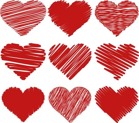 A vector illustration of painted hearts for different purpose