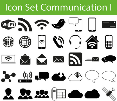 wlan: Icon Set Communication I with 35 icons for different purchase